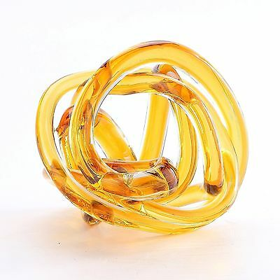"New 6"" Hand Blown Art Glass Knot Sculpture Figurine Abstract Amber"