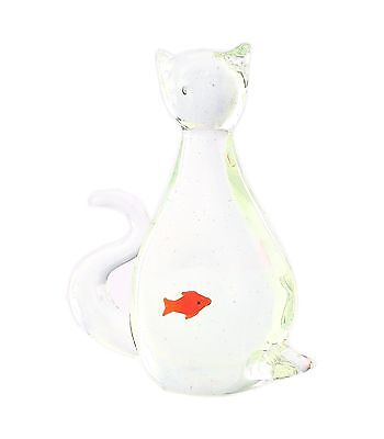 "New 6"" Hand Blown Art Glass Cat Figurine Sculpture Statue Clear"