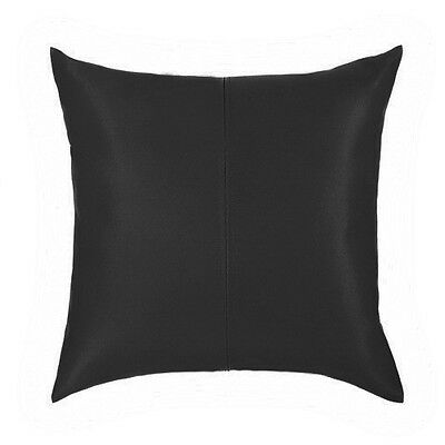 "Black Faux Leather Large 24"" (60cm) Sofa Scatter Cushion Filled Zipped Cover"