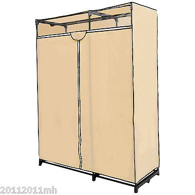 HOMCOM 63'' Portable Closet Wardrobe Garment Storage Organizer Hanger Rack Cream