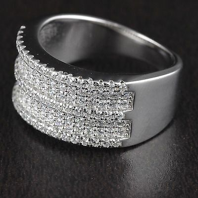 Womens 925 Sterling Silver CZ Micro Pave Wedding Band Engagement Ring 10mm Wide