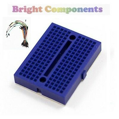 Solderless Prototype Breadboard (170 Points) + 65 Jumper Wires - Blue