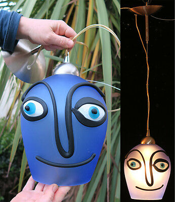 1o2 Vintage Modern Murano SURREAL face ART Glass hanging lamp lantern chandelier