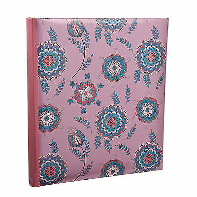 Pink Floral 5 x 7 Slip In Case Bookbound Memo Photo Album For 120 Holds -AL-9147
