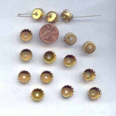 18 VINTAGE BRASS FILIGREE PRONG 11mm. ROUND HOLED CUP SETTINGS 1547