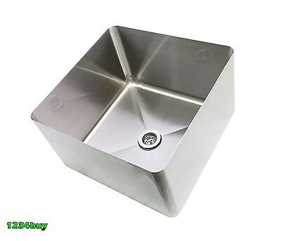 "ACE 16Ga S/S Center Drain Sink Bowl 24""x24""x16"" With Strainer SB-242416 & AA-137"