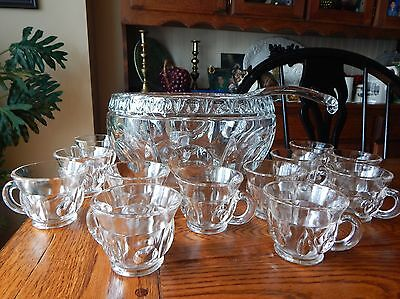 Vintage Colony Crystal Heavy CLASSIQUE GLASS PUNCH BOWL 12 CUPS & GLASS  LADLE