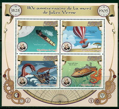 Jules Verne Congo MNH stamp set 4val + ss