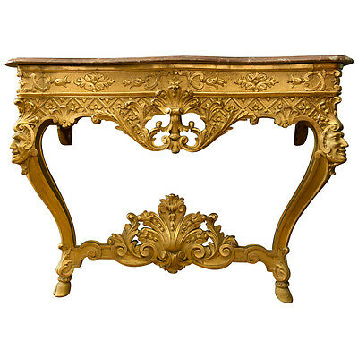 An Italian Antique Carved Gilt-Wood Louis XV Style Console Table