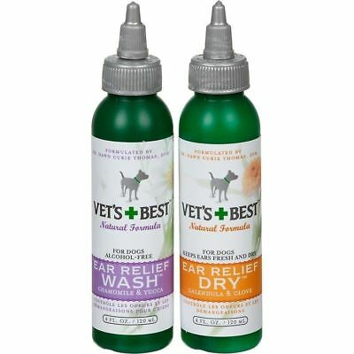 Vet's Best Dog Ear Relief Wash and Dry 4oz 2-Pack  solution 4 Pet Otic Problems