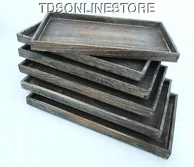 Package Of 6 Rustic Antique Coffee Color Wood Jewelry Trays