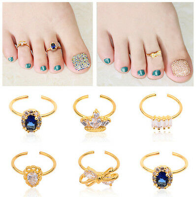 Nail Art Women Adjustable Toe Ring with CZ Crystal Zirconia Cubic Nail Jewelry