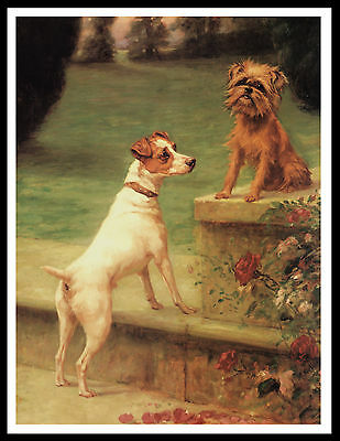 Brussels Griffon And Fox Terrier Lovely Vintage Style Dog Print Poster