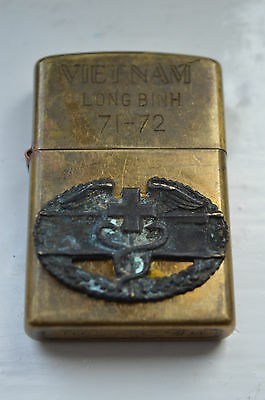 Zippo VIETNAM 71-72 Long Binh with US ARMY COMBAT MEDIC BADGE Lighter, USED