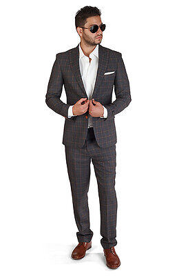 Slim Fit Men Suit 2 Button Charcoal Grey Windowpane Plaid Peak Lapel By Azar