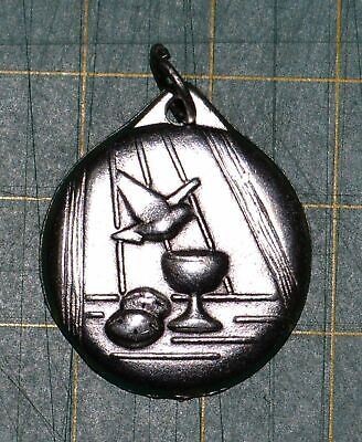Communion / Confirmation Combined Medal Pendant, 21mm, Silver Tone Made In Italy