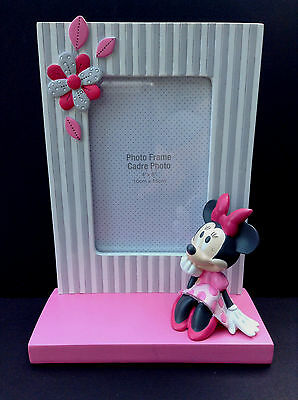 """DISNEY Store DISNEY Baby MINNIE MOUSE Resin PHOTO FRAME 4"""" x 6"""" Pink NEW"""