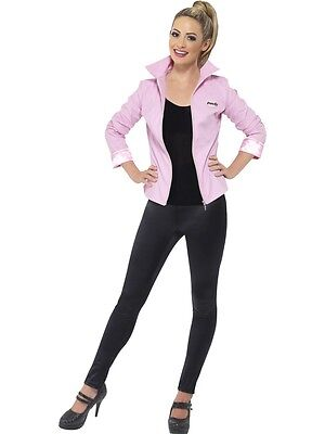 DELUXE Grease Pink Ladies Jacket Fancy Dress Costume Official Licensed Outfit
