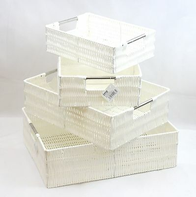White Resin Woven Storage Basket With Stainless Steel handle In 4 Size Best Gift