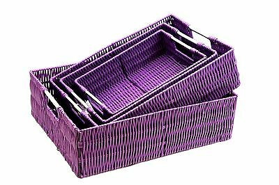Purple Resin Woven Storage Basket With Stainless Steel handle In 4 SizeBest Gift