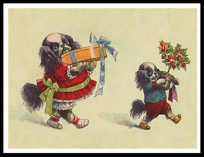 Japanese Chin Dogs Carrying Gifts Lovely Vintage Style Dog Art Print Poster