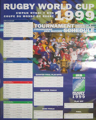 1999 Rugby World Cup Fixture Chart A3 Original Poster