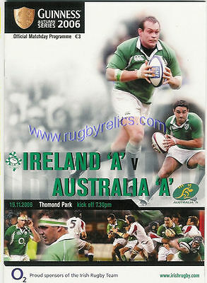 AUSTRALIA A 2006 RUGBY TOUR PROGRAMME v IRELAND A 15th November at Limerick