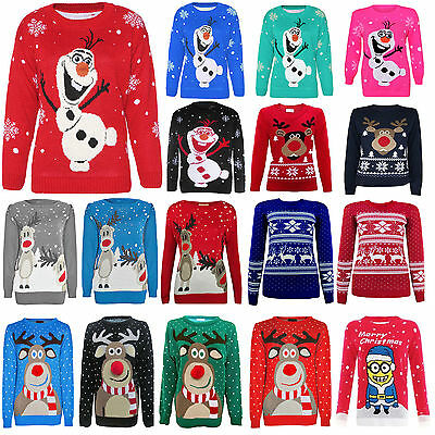 New Boys Girls Childrens Kids Christmas Xmas Retro Winter Jumper Sweater Size