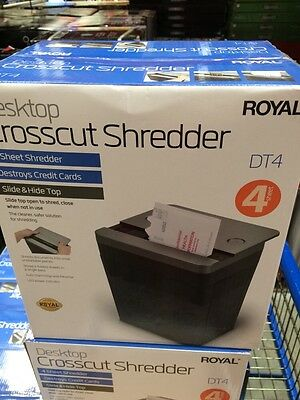 NEW! ROYAL Desktop Crosscut 4 Sheet Credit Card Shredder Slide & Hide Model DT4