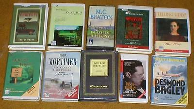 Lot of 10 Audiobooks on Cassette Tape-Fiction ~ Adam Hall, Dylan Thomas, etc...