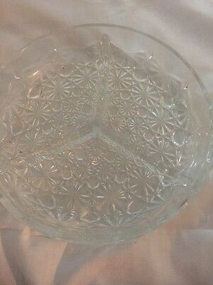 Daisy and Button Divided Relish Dish Indiana Glass Crystal Vintage