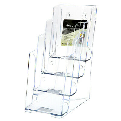 4 Tier Leaflet Holder Tri-fold Literature Holder Clear Acrylic Wall Mountable 14