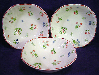 3 Johnson Brothers SWEETBRIAR Soup Cereal SQUARE BOWLS Fruit & Flowers ENGLAND