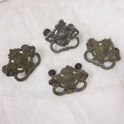 Vintage Ornate Brass Hardware Or Drawer Pull Lot Of Four