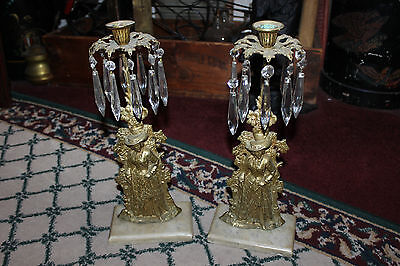 Antique Victorian Candlestick Holders-Pair-Woman In Dress-Hanging Crystals-LQQK