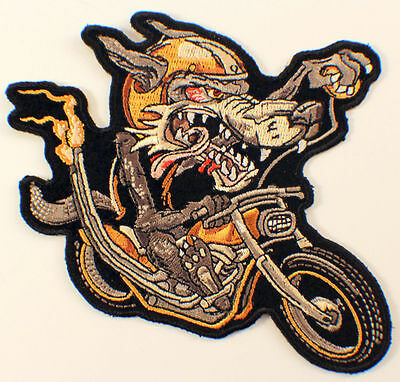 "Grey Lone Wolf Rider Biker Motorcycle 5"" X 4"" Uniform Patch"