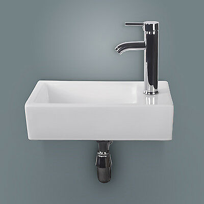 New White Rectangle Bathroom Ceramic Vessel Sink Bowl Wall Mounted&Chrome Faucet