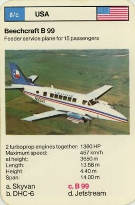 Vintage Single Game Card: Beechcraft B 99. Plane.