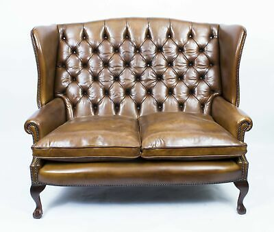Bespoke English Leather Chippendale Club Settee Sofa Tan