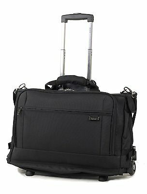 Rock Carbon Carry-on Tri-fold Garment Carrier on Wheels Removable Laptop Sleeve