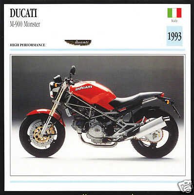 1993 Ducati M-900cc Monster (904cc) Italy Motorcycle Photo Spec Info Card #1