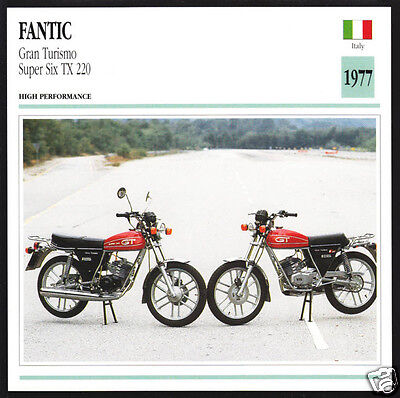 1977 Fantic Motor Gran Turismo Super Six TX 220 50cc GT Motorcycle Photo Card