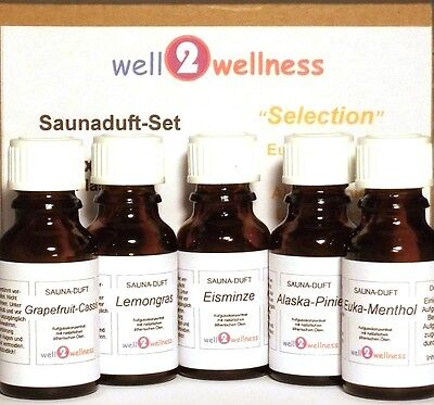 Sauna Set Of Essential Oils For / scent - 'Selection' with 5 x 15ml Bottles