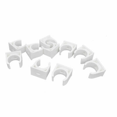 Plastic 20mm Diameter Mounting Pipe Clamps Clips Preloaded Nail PVC 10 Pcs
