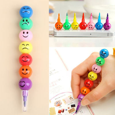 Fashion 7 Colors Cute Stacker Swap Smile Face Crayons Children Drawing Gifts Hot
