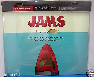 Glass Kitchen Chopping Cutting Worktop Surface Protector Jaws Style Movie