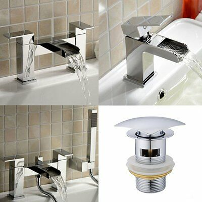 Square Waterfall Chrome Bath Shower Filler Basin Mixer Tap Modern Bathroom Set