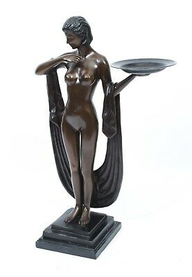 Art Deco Style Bronze Girl with a Shawl and Platter