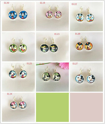 1 pair Handmade Disney mickey mouse round glass silver Dangle Earrings  1-10#