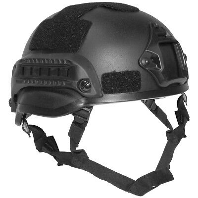 US Army Tactical Helmet 'Mich 2002' with Rails Inner Padding & Chin Strap Black